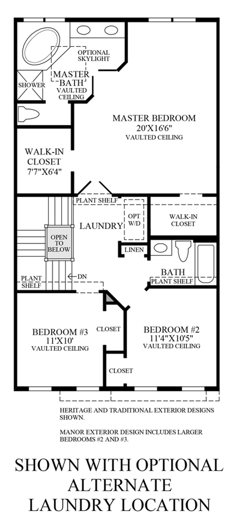 Optional Alternate Laundry Location Floor Plan