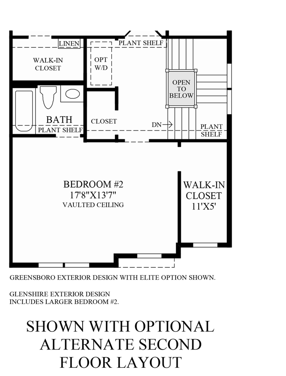 Optional Alternative 2nd Floor Layout Floor Plan