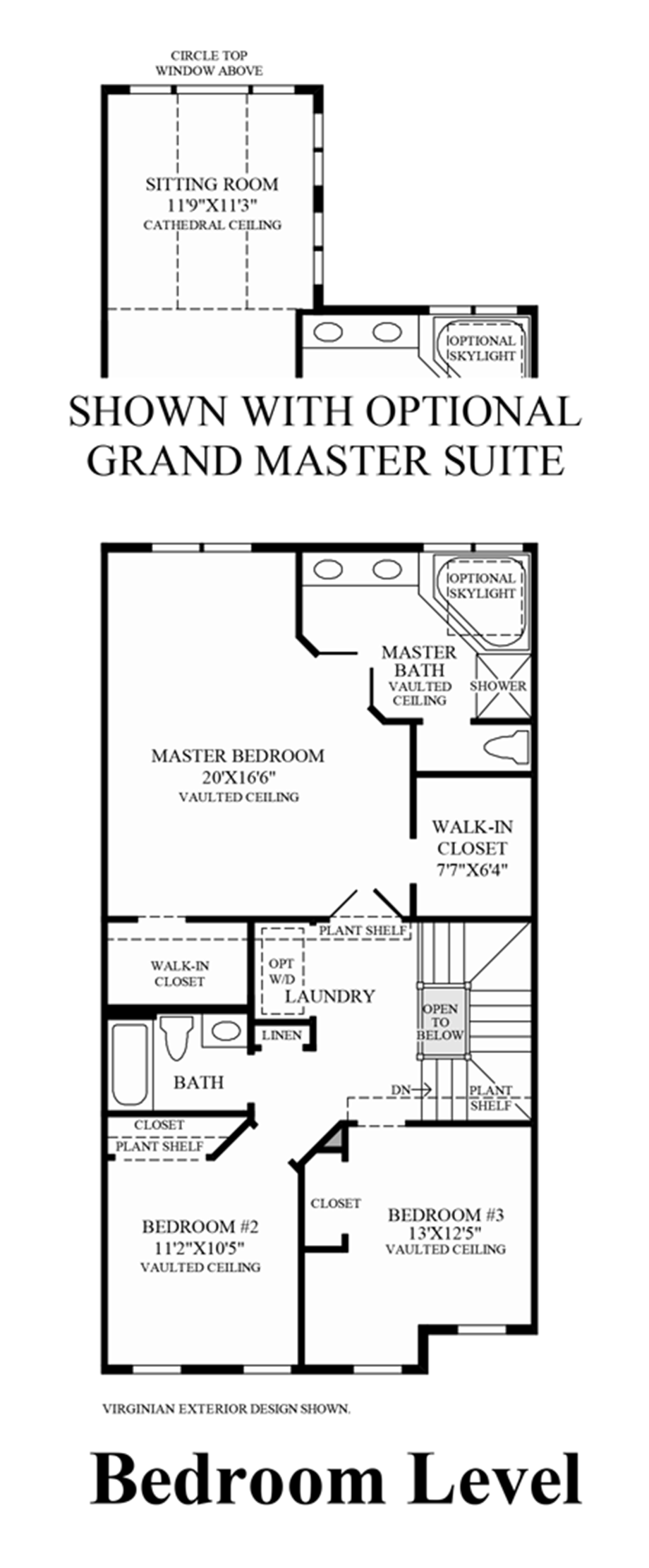 Bedroom Level (Living Level Entry) Floor Plan