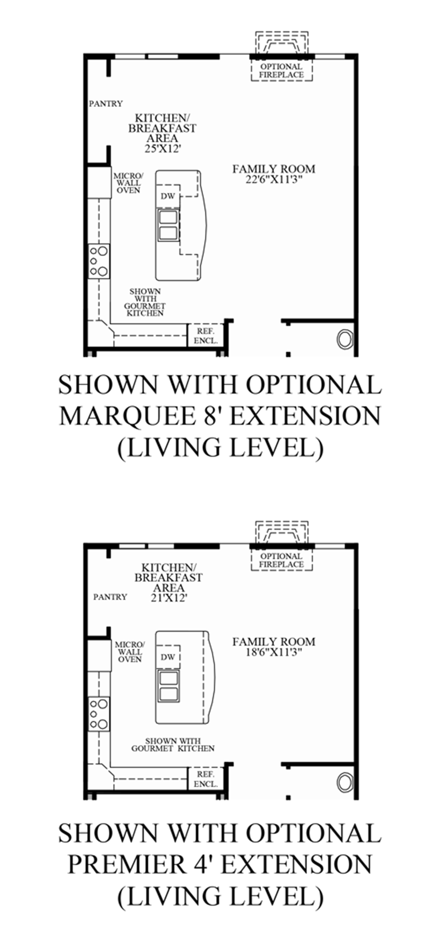Optional Living Level Extensions (Living Level Entry) Floor Plan