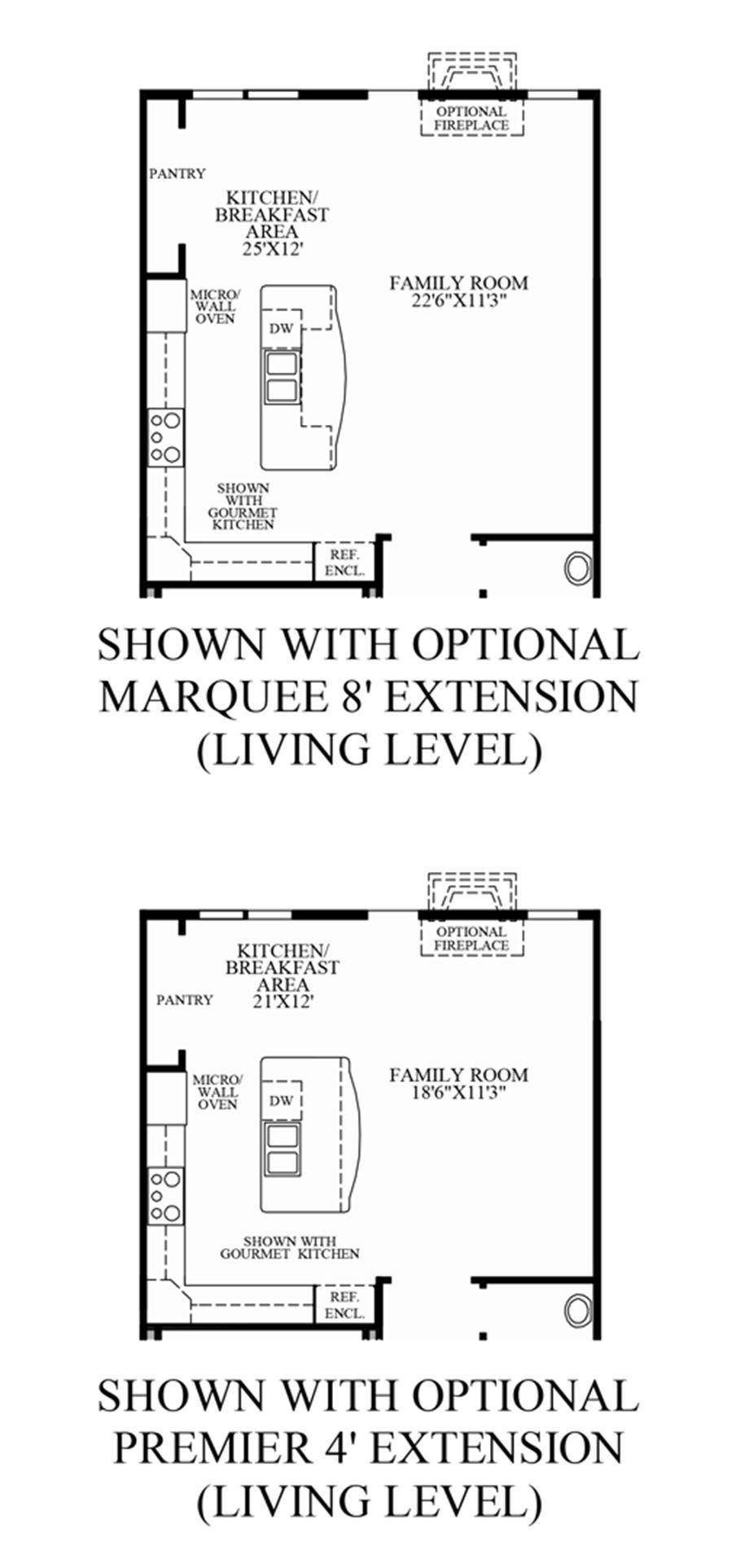 Optional Living Level Extensions (Living Level Entry) Floor Plan