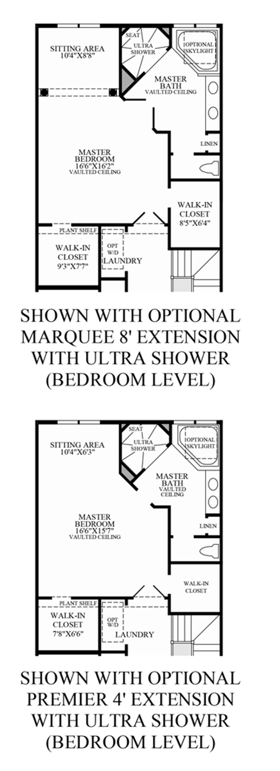 Optional Bedroom Level Extension Floor Plan