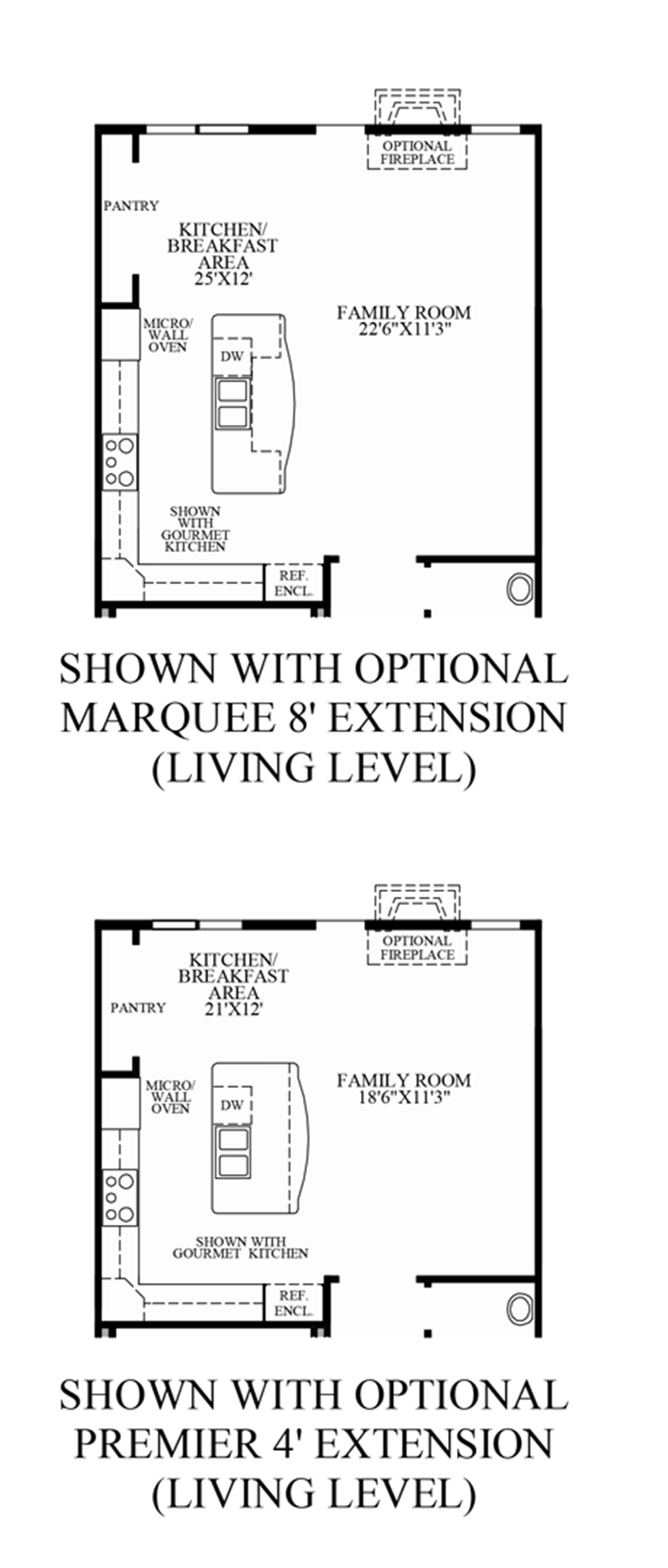 Optional Living Level Extensions (Lower Level Entry) Floor Plan