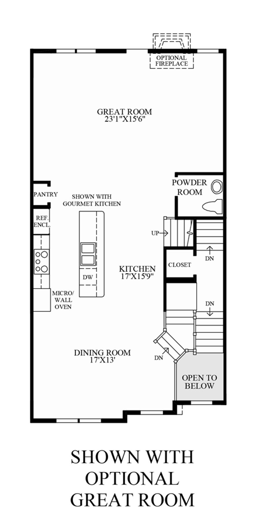 Optional Great Room (Lower Level Entry) Floor Plan