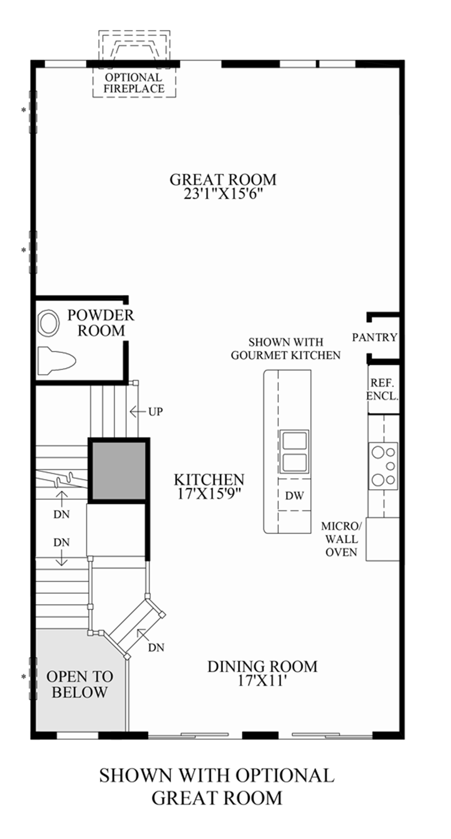 Optional Great Room (Lower Level Entry) Floor Plan