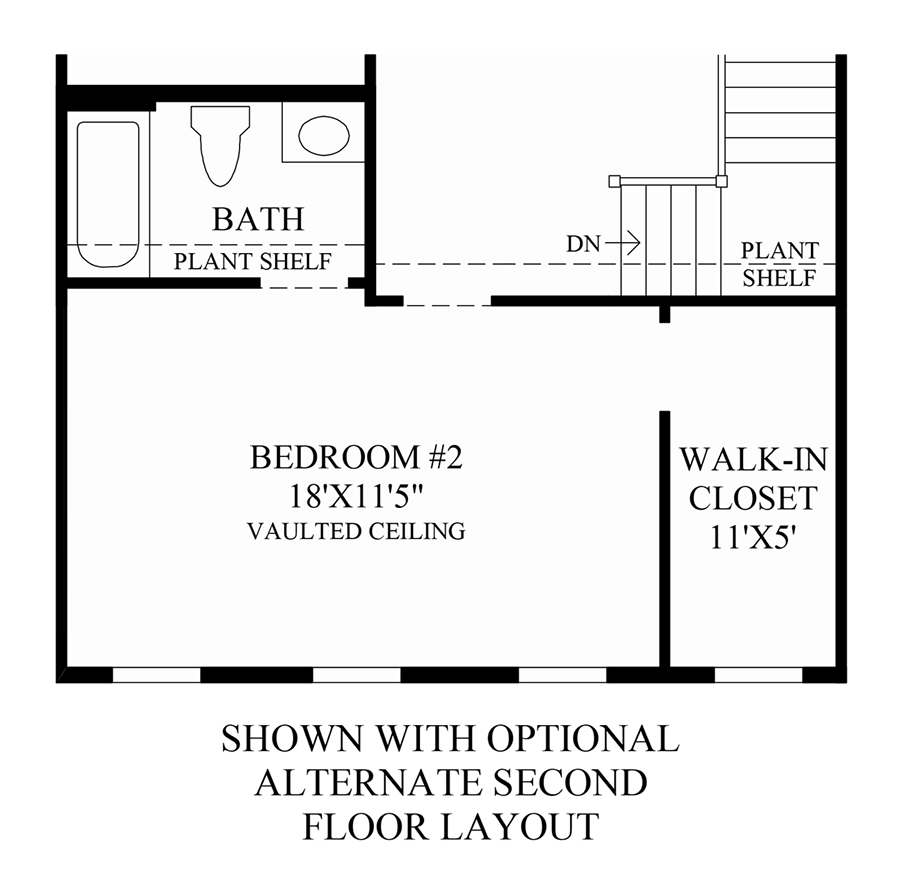 Optional Alternate 2nd Floor Layout Floor Plan