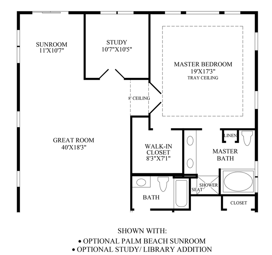 Optional Palm Beach Sunroom/Study Floor Plan