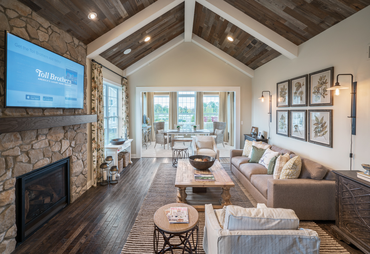 Great room features cathedral ceiling and gas fireplace