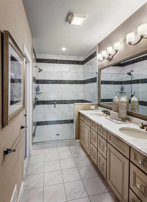 Primary bath with dual vanity and expanded walk-in shower