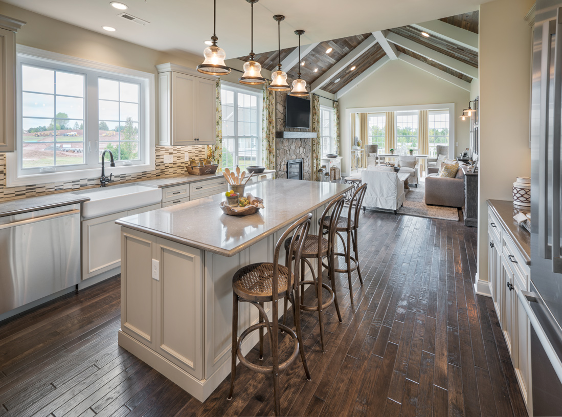Kitchen opens to expansive great room