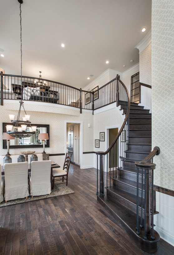 Impressive foyer with turned staircase