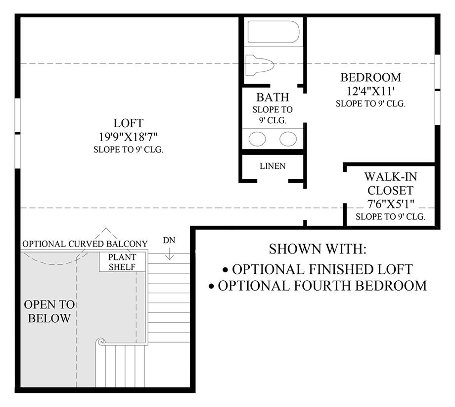 Optional Finished Loft & 4th Bedroom Floor Plan