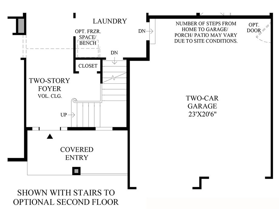 Stairs to Optional 2nd Floor Floor Plan