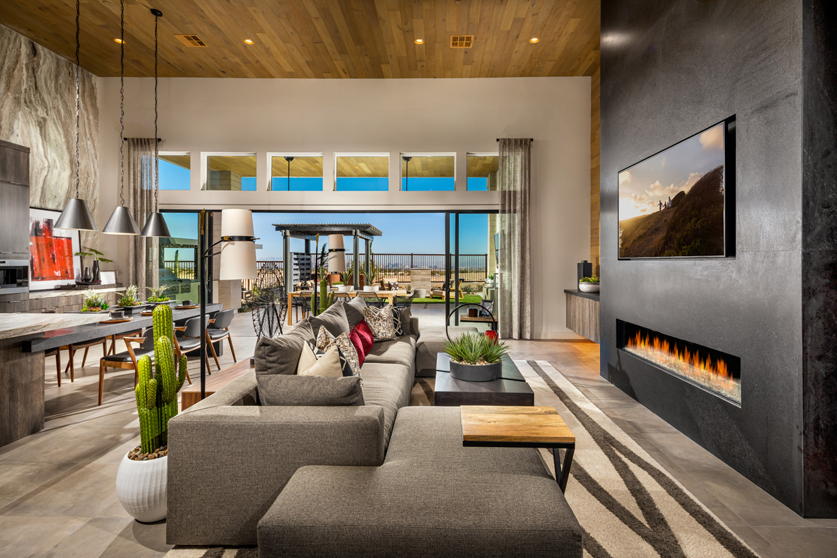 Spacious great room opening to outdoor living