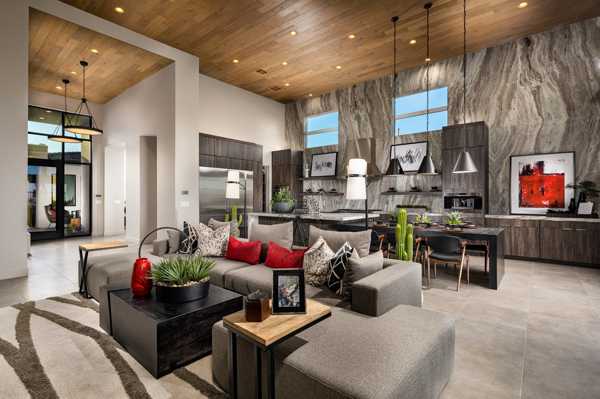 Soaring great room and kitchen area
