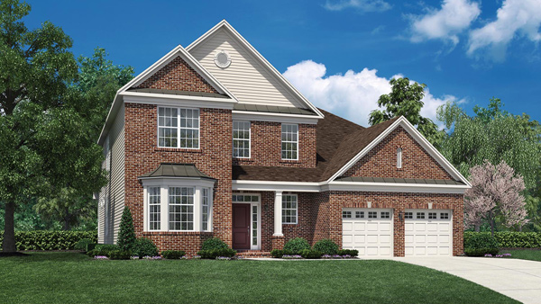 Image of the Bridleridge home design with tan siding and brick finish located in the Regency at Monroe Community