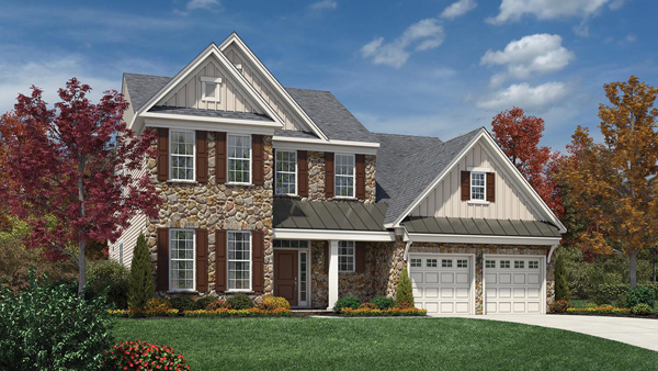 Image of the Bridleridge home design with white siding and tan brick finish located in the Regency at Monroe Community