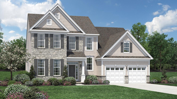 Image of the Bridleridge home design with white siding and grey stone finish located in the Regency at Monroe Community