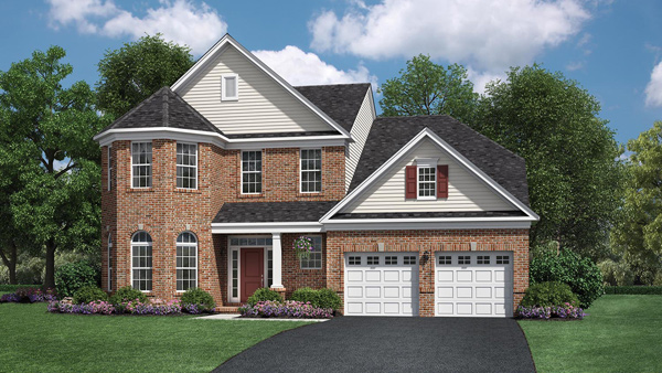 Image of the Bridleridge home design with white siding and brick finish located in the Regency at Monroe Community