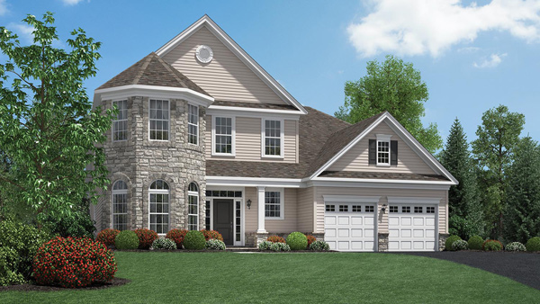 Image of the Bridleridge home design with tan siding and stone finish located in the Regency at Monroe Community