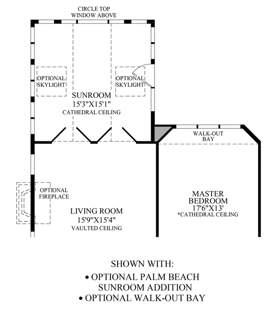 Optional Palm Beach Sunroom/Walk-Out Bay Floor Plan