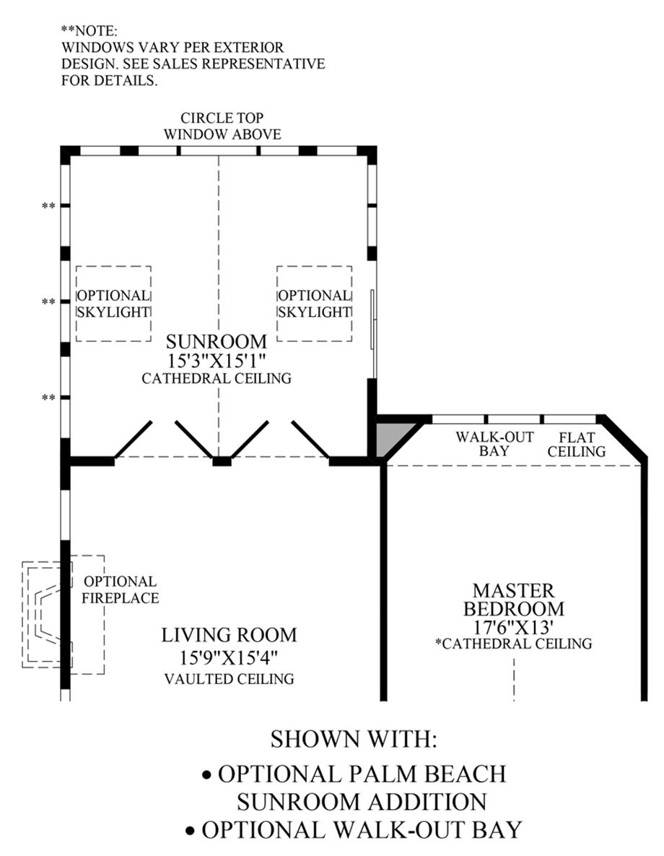 Optional Palm Beach Sunroom Addition & Walk-Out Bay Floor Plan