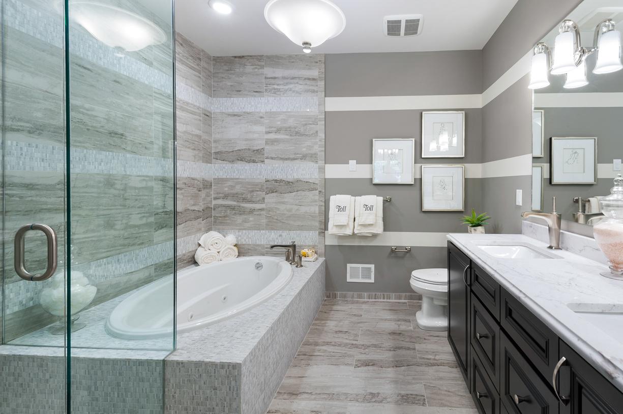 Primary bath with dual vanity