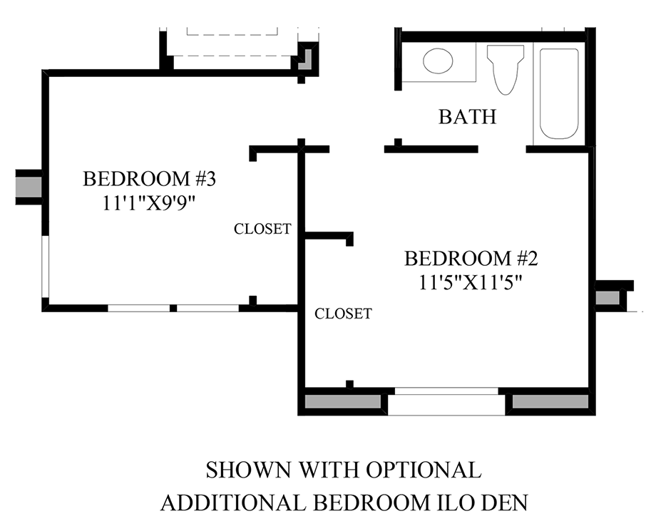 Optional Additional Bedroom ILO Den Floor Plan