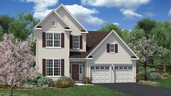 Image of the Bronson home design with full white siding located in the Regency at Monroe Community