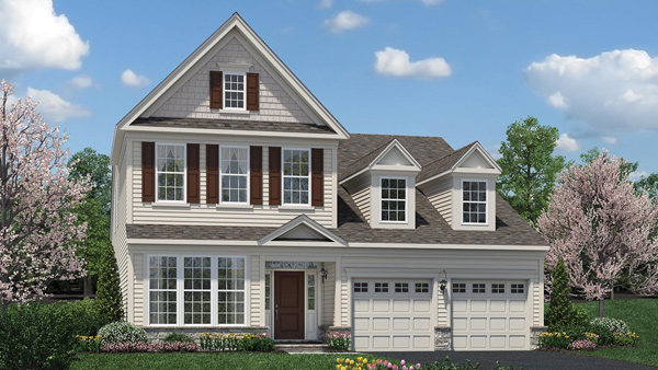 Image of the Bronson home design with white siding and third floor window located in the Regency at Monroe Community