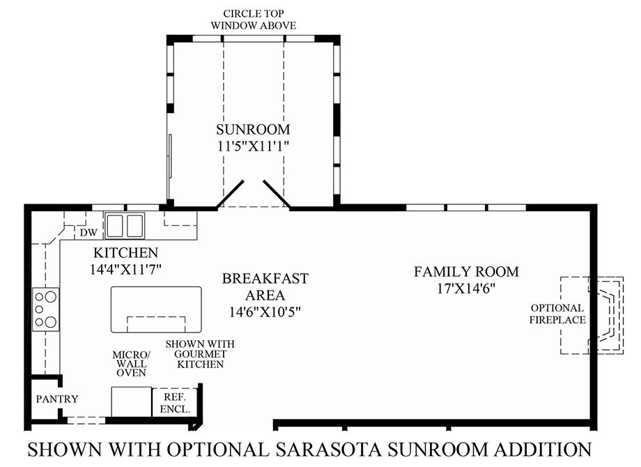 Optional Sarasota Sunroom Addition Floor Plan