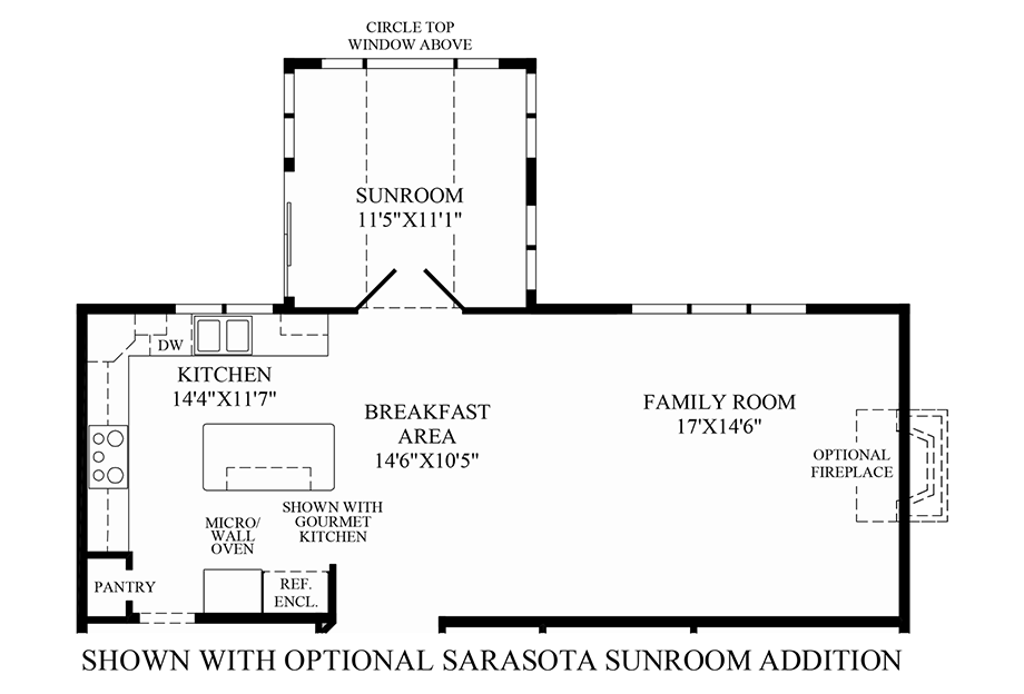 Optional Sarasota Sunroom Addition Floor Plan