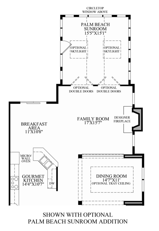 Optional Palm Beach Sunroom Addiition Floor Plan