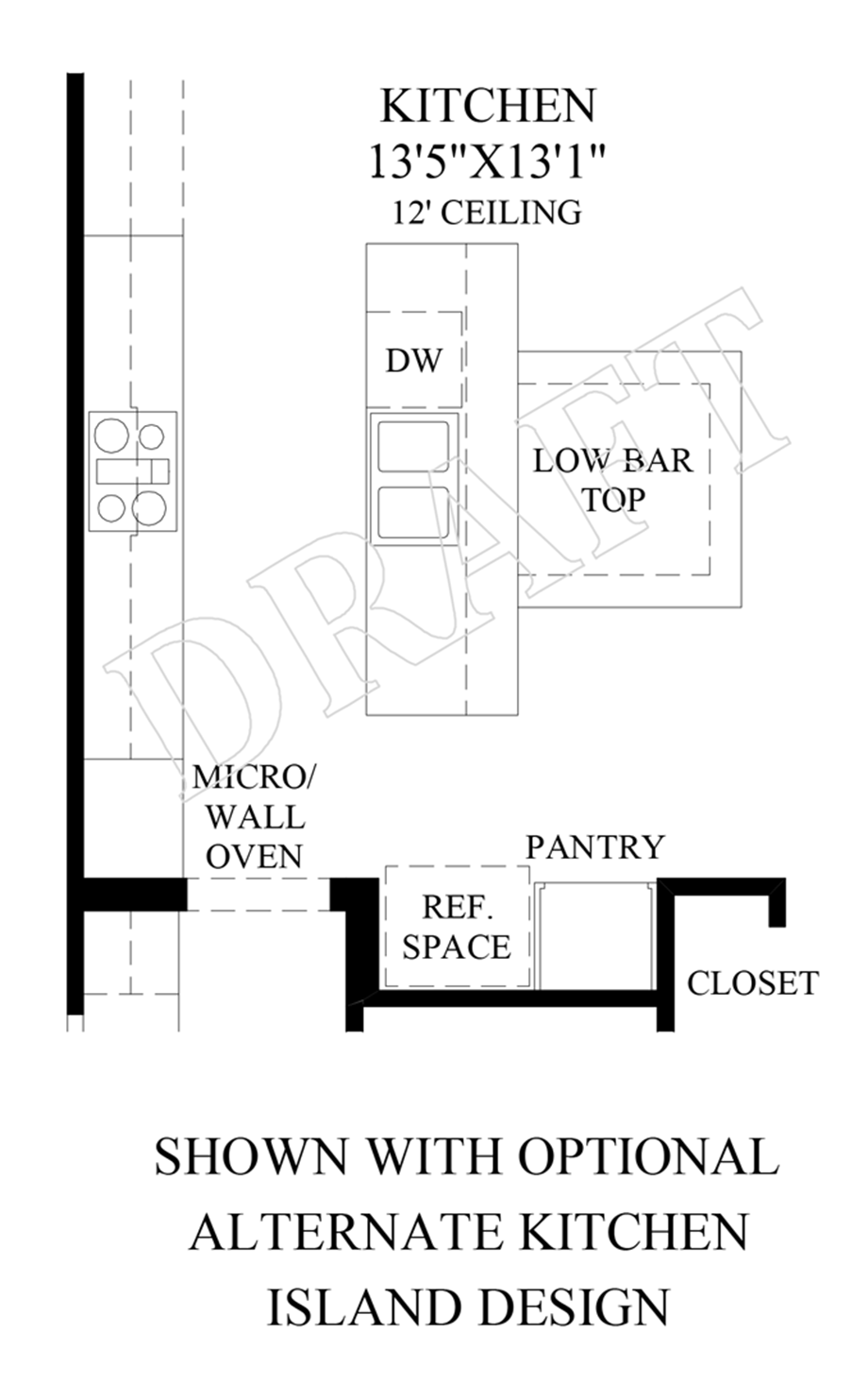 Optional Alternate Kitchen Island Design Floor Plan