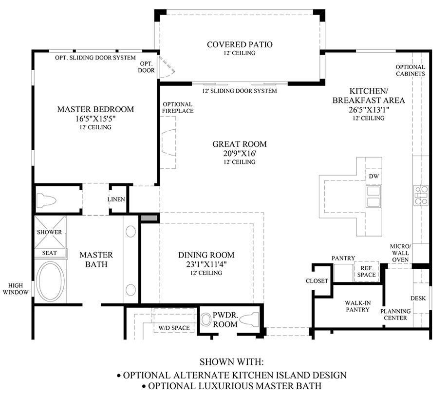 Optional Alternate Kitchen Island Design & Luxurious Master Bath Floor Plan