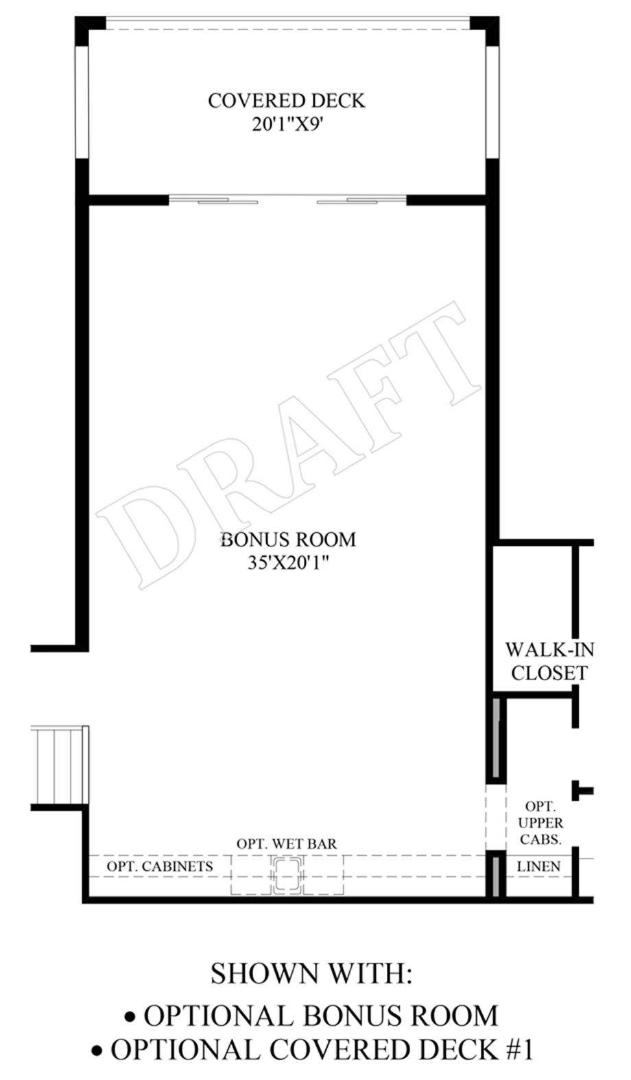 Optional Bonus Room & Covered Deck Floor Plan