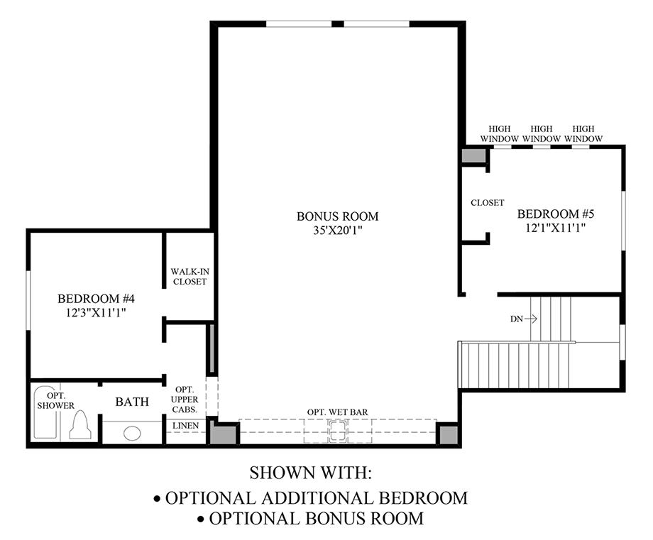 Optional Additional Bedroom & Bonus Room Floor Plan