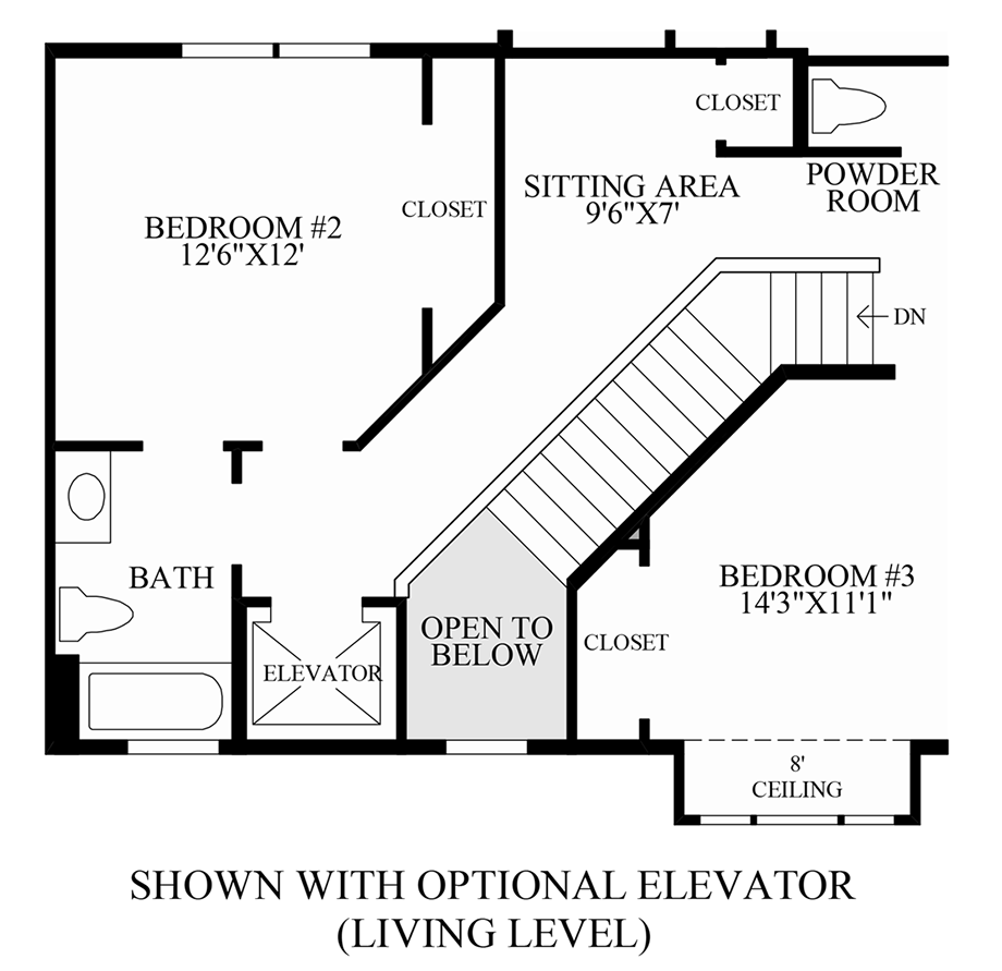 Optional Elevator (Living Level) Floor Plan