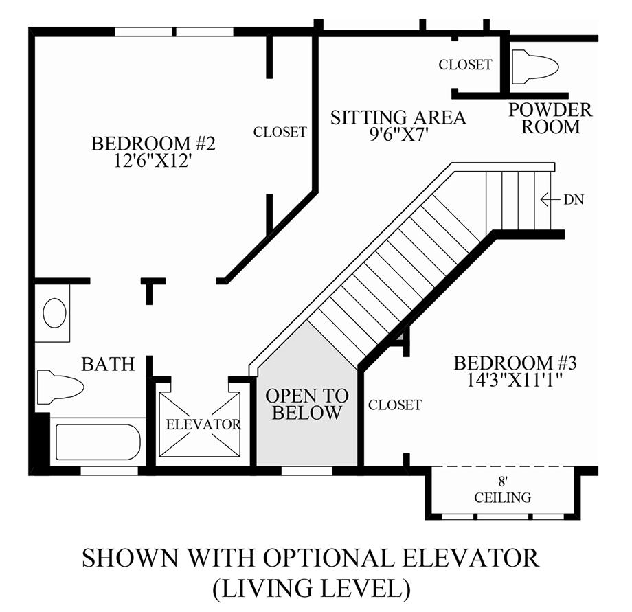 Optional Elevator (Living Level) Floor Plan