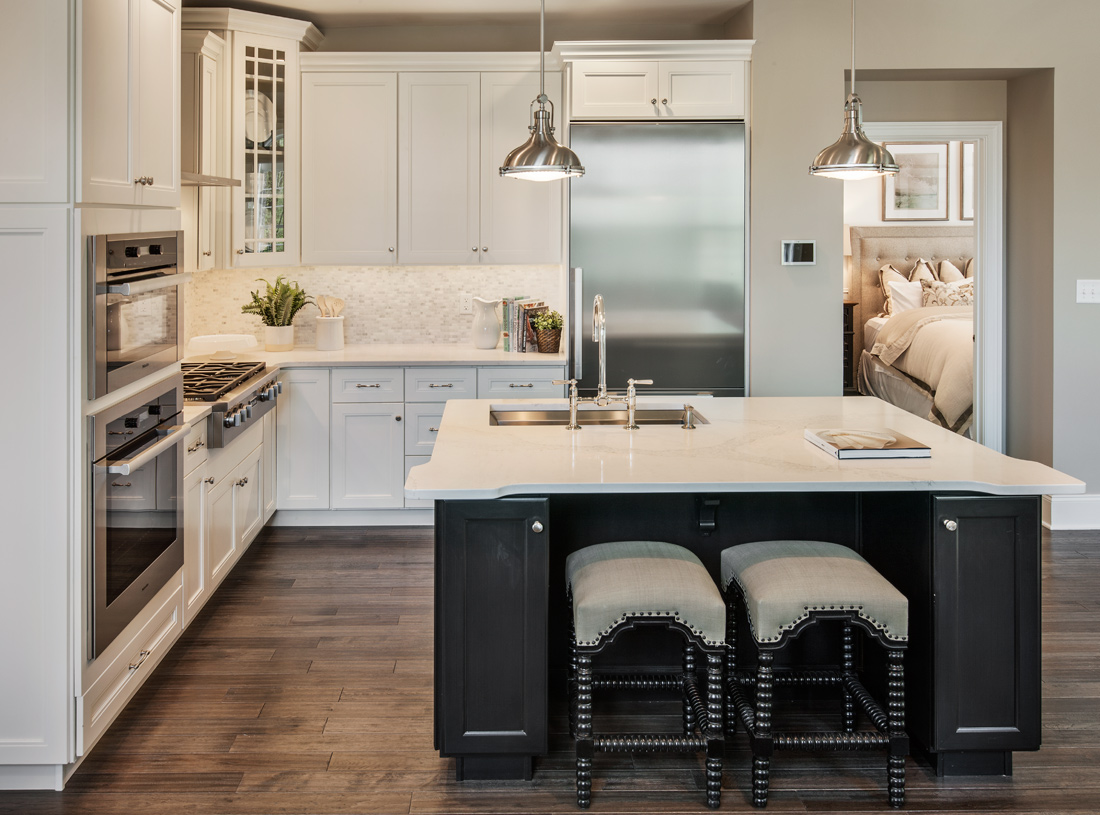 Spacious kitchen with large center island