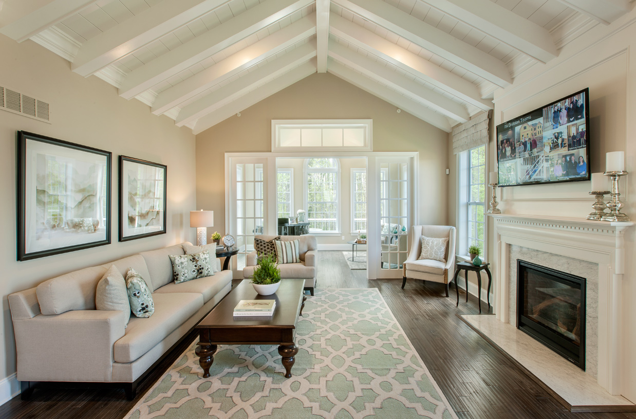 Great room with vaulted ceiling and gas fireplace