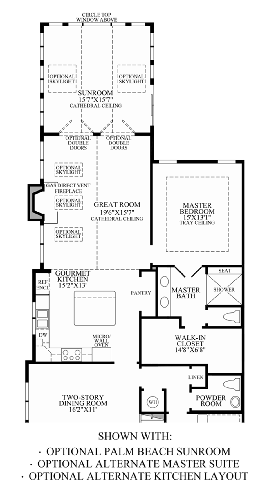 Optional Palm Beach Sunroom/Alternate Master Suite/Alternate Kitchen Layout Floor Plan