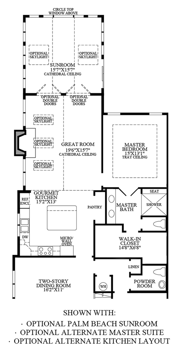 Optional Palm Beach Sunroom, Alternate Master Suite & Alternate Kitchen Layout