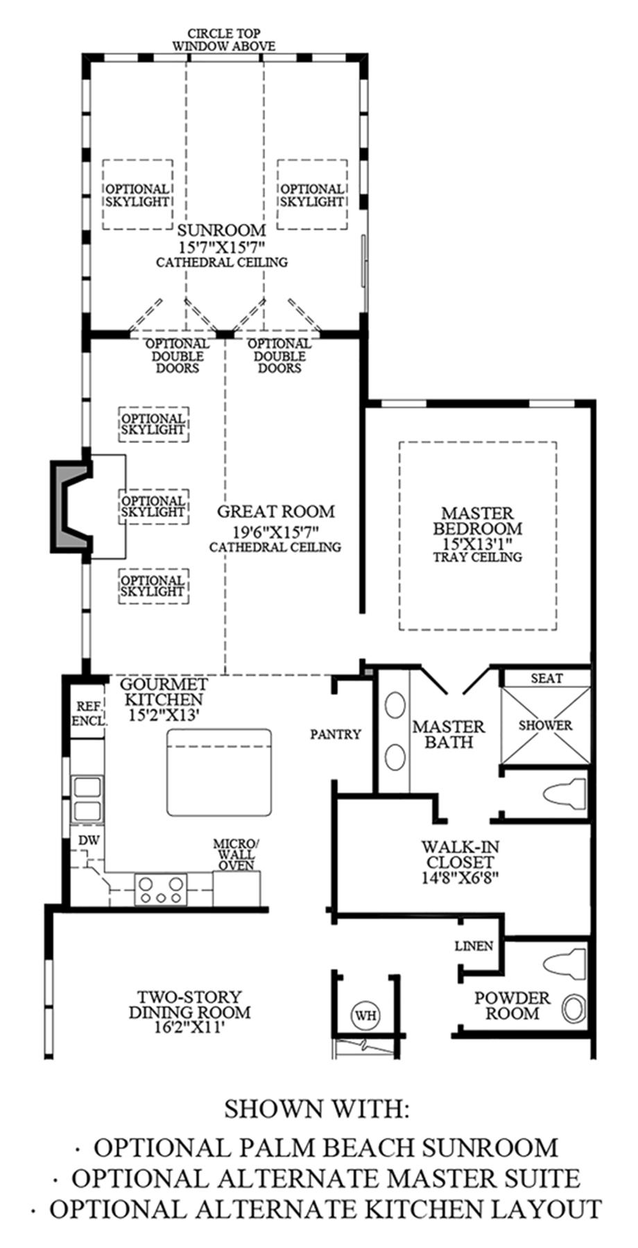 Optional Palm Beach Sunroom, Alternate Master Suite & Alternate Kitchen Layout Floor Plan