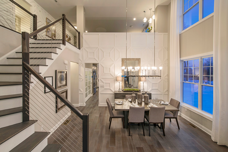 Two-story foyer and dining room
