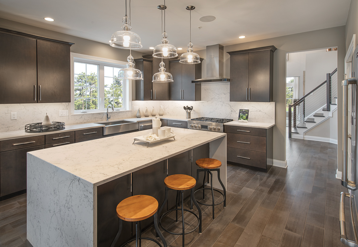 Spacious kitchen with center island