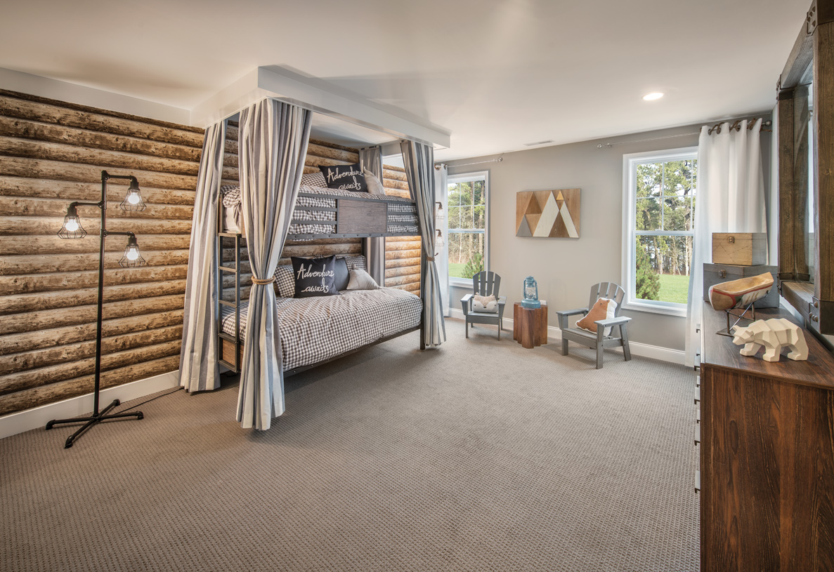 Camp-inspired secondary bedroom perfect for grandchildren