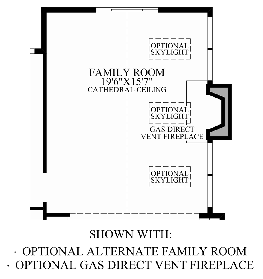 Optional Alternate Family Room & Gas Direct Vent Fireplace Floor Plan