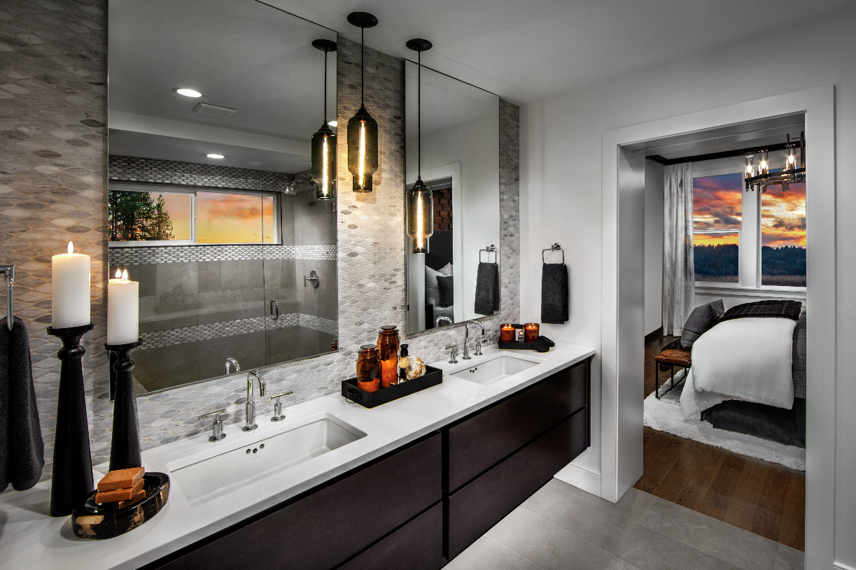 Luxe master bath with dual sink vanity