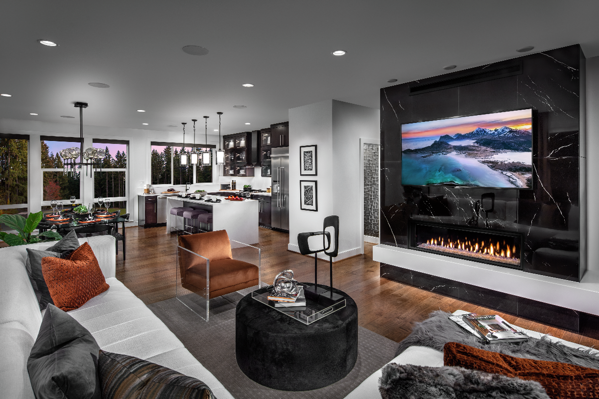 Great room with stylish fireplace